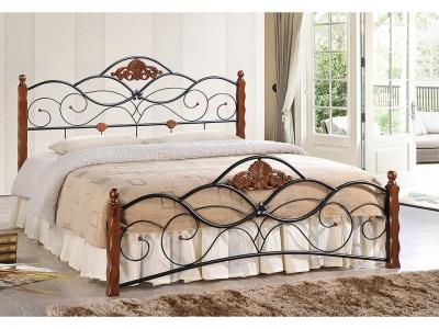 Кровать Canzona Middle Bed Черный + Красный Дуб