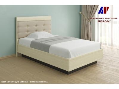 Кровать с мягким изголовьем КР-1051 1200х2000 Дуб Беленый - комбинированный