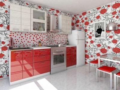 Кухня Соло бело-красный дождь