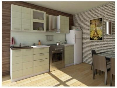 Кухня Соло МДФ зеленая полоса