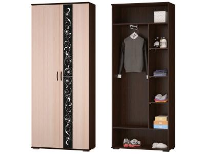 Шкаф для платья и белья с выдвижной штангой Адажио 900x2196x384 мм венге