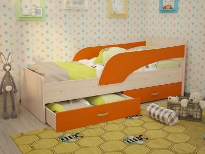 Кровать детская Кроха дуб-оранж