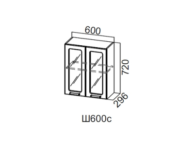 Кухни SV Дополнительный модуль Шкаф навесной со стеклом 600 Ш600с 720x600x296мм