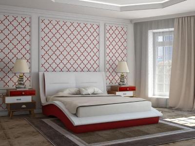 Кровать Derby белая спинка-красные царги
