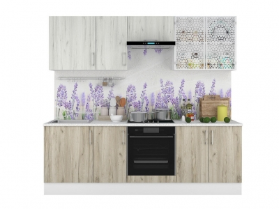 Кухонный гарнитур Европа 2400 Белый-Серый Крафт