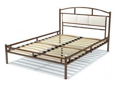 Кровать 140 Тая-3 металлическая Венге - эко-кожа белая