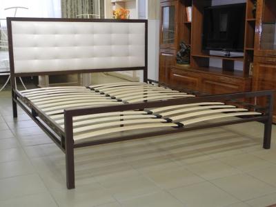 Кровать 160 Лагуна металлическая Венге - ткань Энигма варм беж