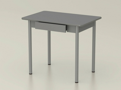 Стол обеденный закругленный с ящиком Платина - ноги серые