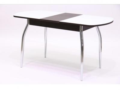Стол обеденный раздвижной со стеклом Гала 1 венге + стекло белое