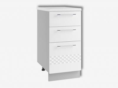 Шкаф нижний 400мм с 3мя ящиками СЯ 850х400мм МДФ белый Капля