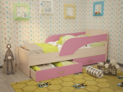 Кровать детская Кроха дуб-розовый