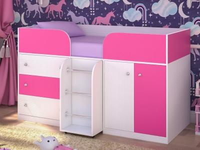 Кровать-чердак Малыш 4 белое дерево-розовый