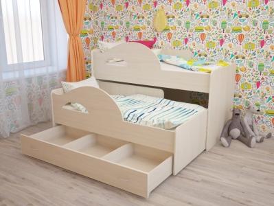 Кровать выкатная Матрешка с ящиками дуб