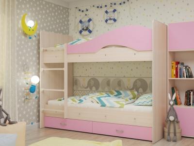 Кровать двухъярусная Мая с ящиками дуб-розовый