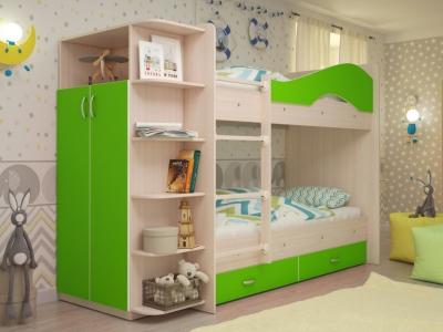 Кровать двухъярусная Мая со шкафом и ящиками дуб-зеленый