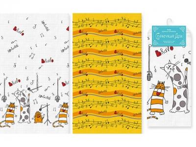 Набор полотенец Солнечный Дом Поющие коты (арт. 7219458)