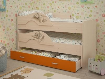 Кровать выкатная Матрешка-Сафари с ящиками дуб-оранж