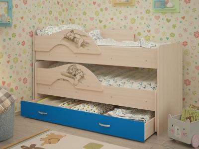 Кровать выкатная Матрешка-Сафари с ящиками дуб-синий