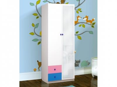 Шкаф 2-х дверный с ящиками и зеркалом Радуга