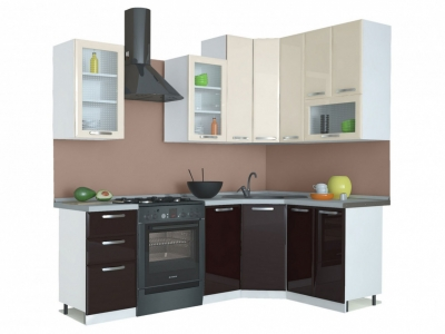 Угловая кухня Равенна Лофт 1,65х1,45 ваниль глянец/шоколад (высокие)