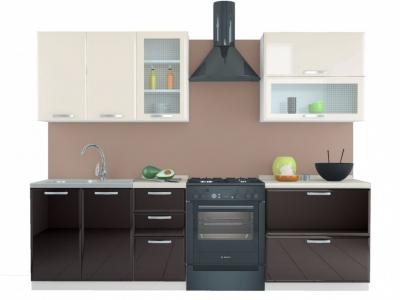 Кухня Равенна Лофт 2,0 м № 2 ваниль глянец/шоколад