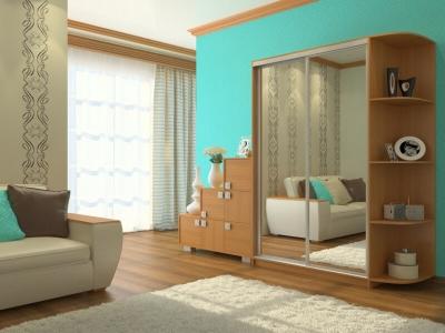 Шкаф-купе Ксения с 2-мя зеркалами и угловым элементом миланский орех