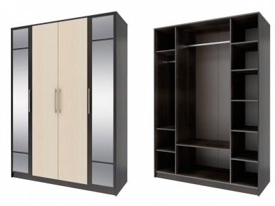 Шкаф 4-х дверный с зеркалом Элиза СТЛ.138.10 1600х2230х590 Венге-Дуб молочный