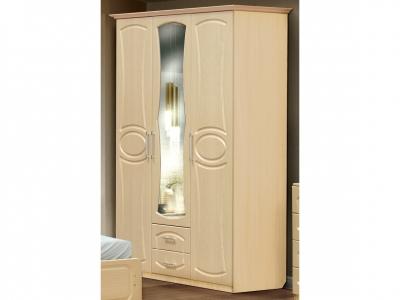 Шкаф 3-х дверный с 2-мя ящиками и зеркалом Венеция 1