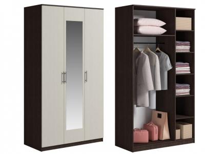 Шкаф 3 двери с зеркалом Светлана Венге/Дуб молочный