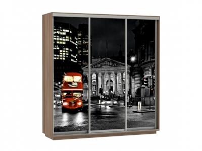 Шкаф-купе Трио Фото Ночной Лондон Ясень шимо темный