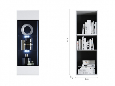 Пенал-витрина Йорк навесная (02) Белый/белый глянец